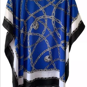 MICHAEL Michael Kors Tops - MICHAEL MICHAEL KORS MONOGRAM BLUE CHAIN SCARF TOP